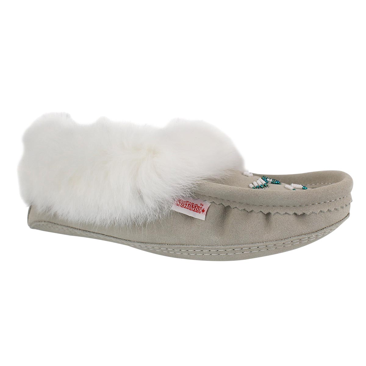 Lds ice rabbit fur moccasin