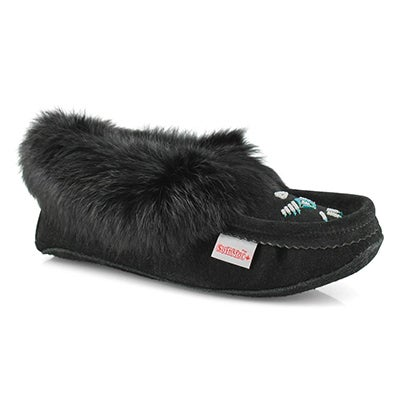 SoftMoc Women's RABBIT black fleece lined moccasins