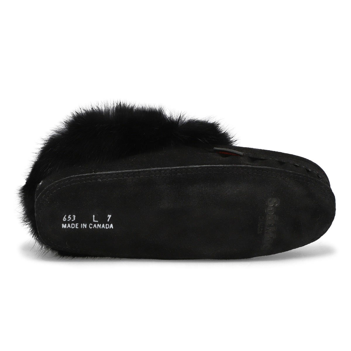 Lds black rabbit fur moccasin