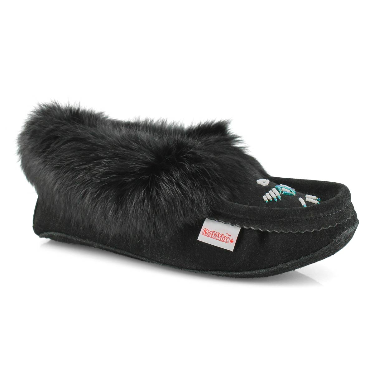 Lds black rabbit fur moccasin