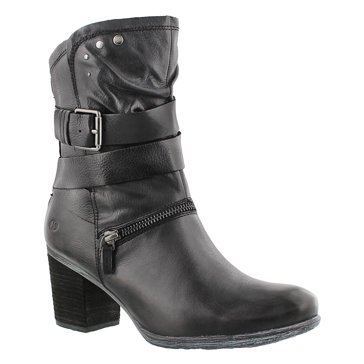 Women's BRITNEY 06 black leather mid-calf boot