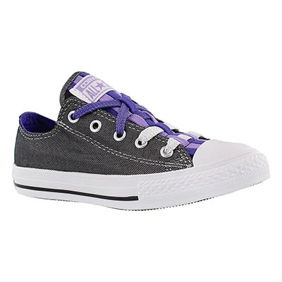 Converse Girls' CT ALL STAR LOOPHOLES silver/grape sneakers