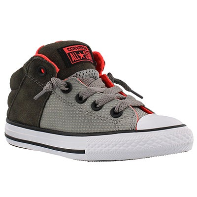 Converse Boys' AXEL MID RIP STOP grey/crimson sneakers