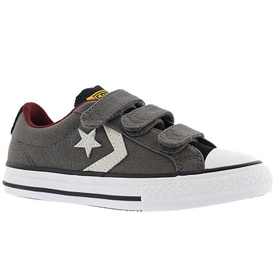 Converse Boys' STAR PLAYER 3V charcoal/white sneakers