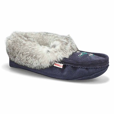 Lds navy rabbit fur moccasin
