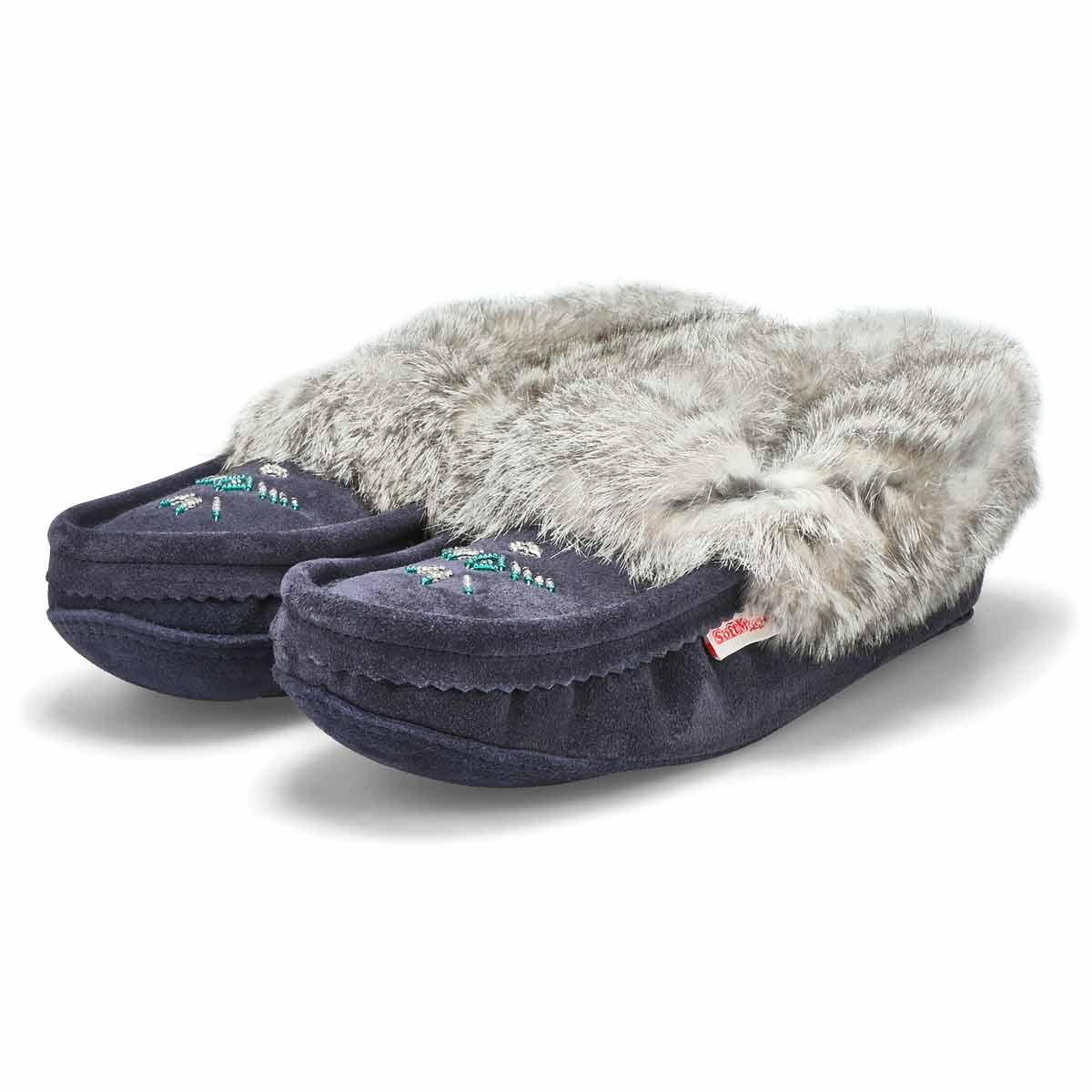Lds navy rabbit fur moccasin
