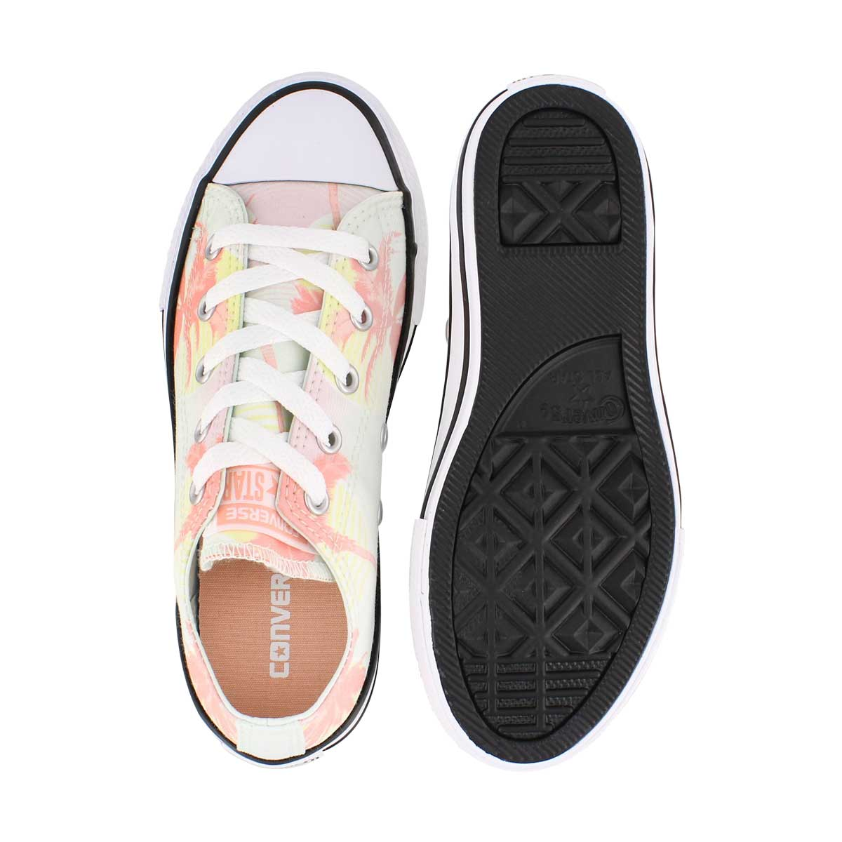 Grls CTAS Palm Trees grn/coral sneaker