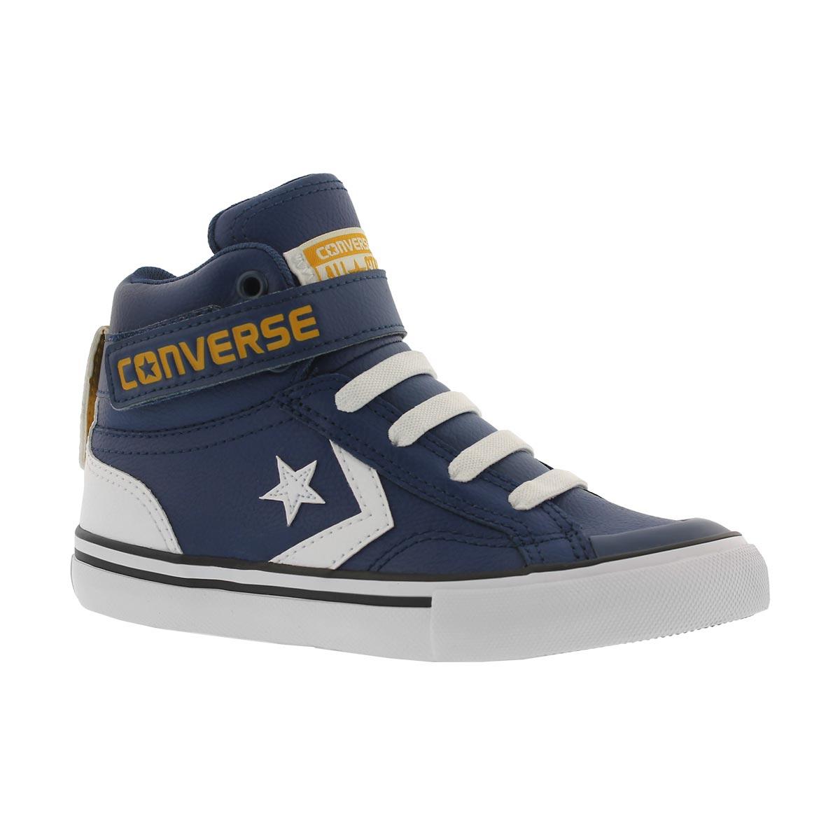 Boys' PRO BLAZE HI navy/white/yellow sneakers