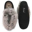 Lds grey rabbit fur moccasin