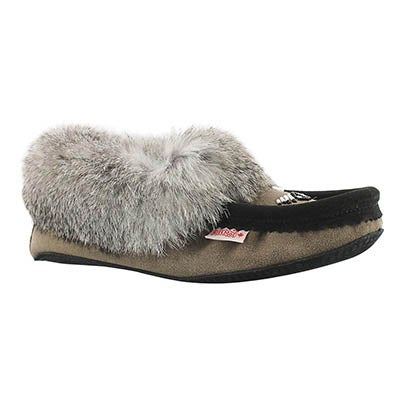 SoftMoc Women's RABBIT grey fleece lined moccasins