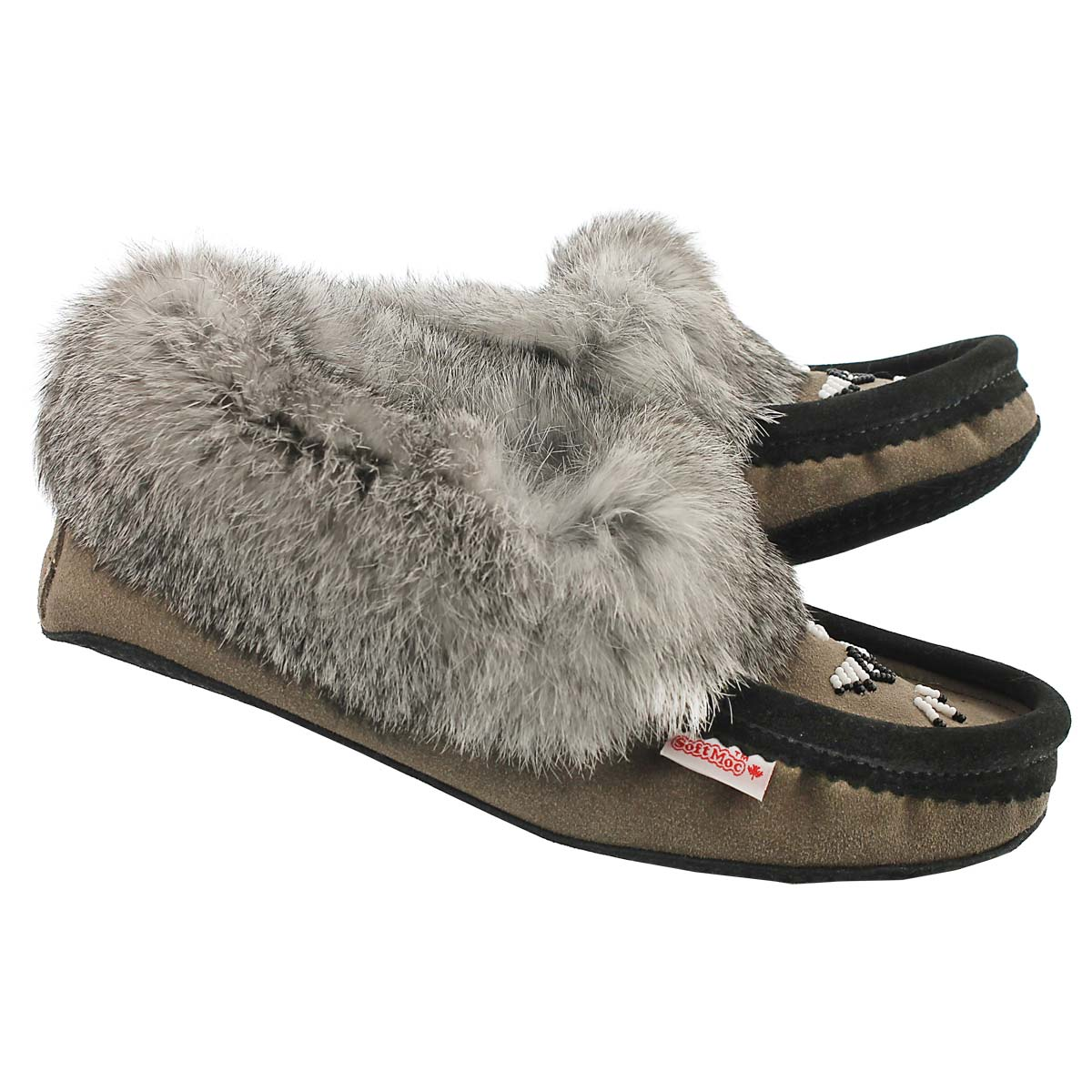 Lds grey rabbit fur moccasin
