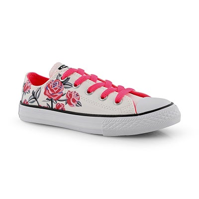 Grls CTAS Girl Power wht/pnk sneaker