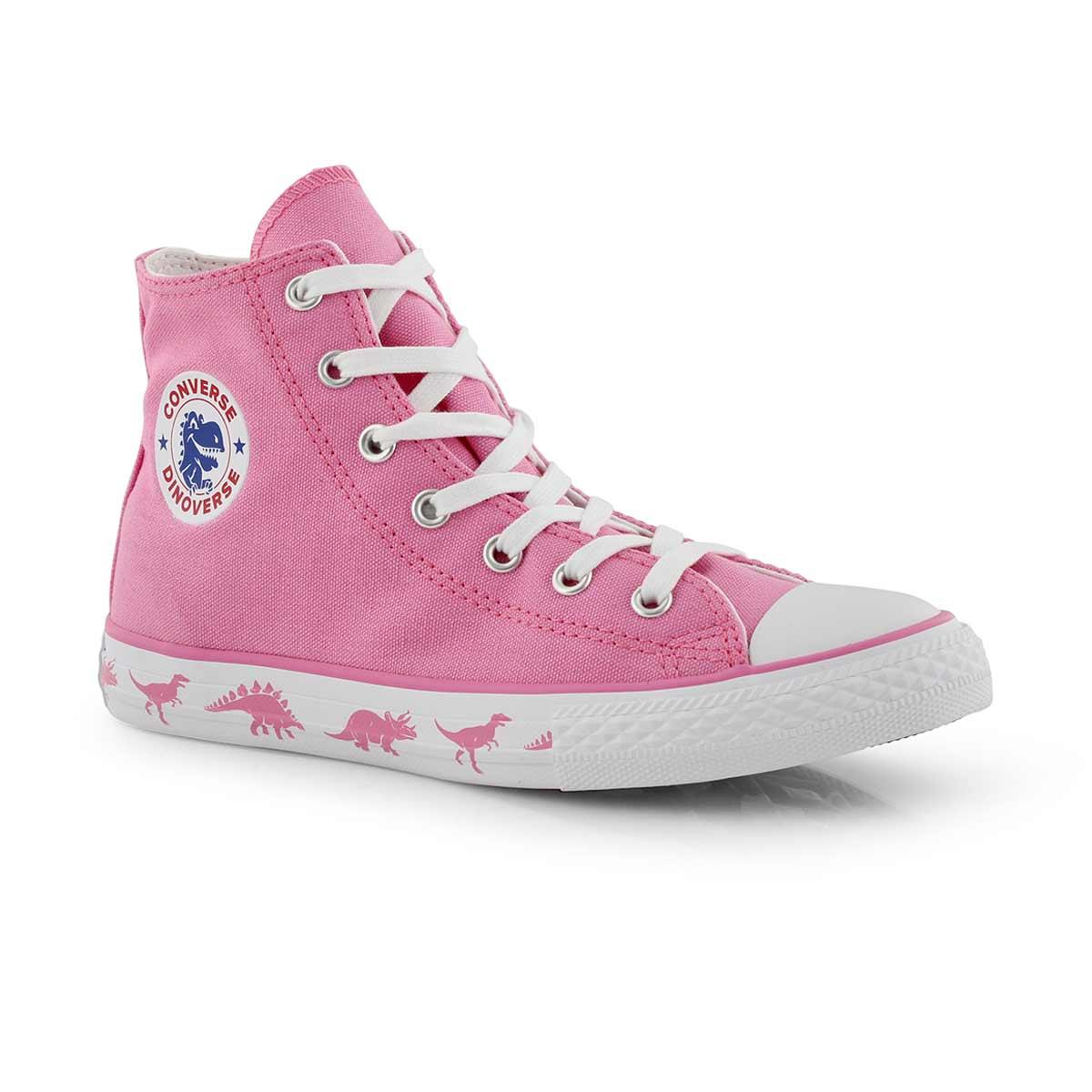 Grls CTAS Dinoverse pink/wht hi top