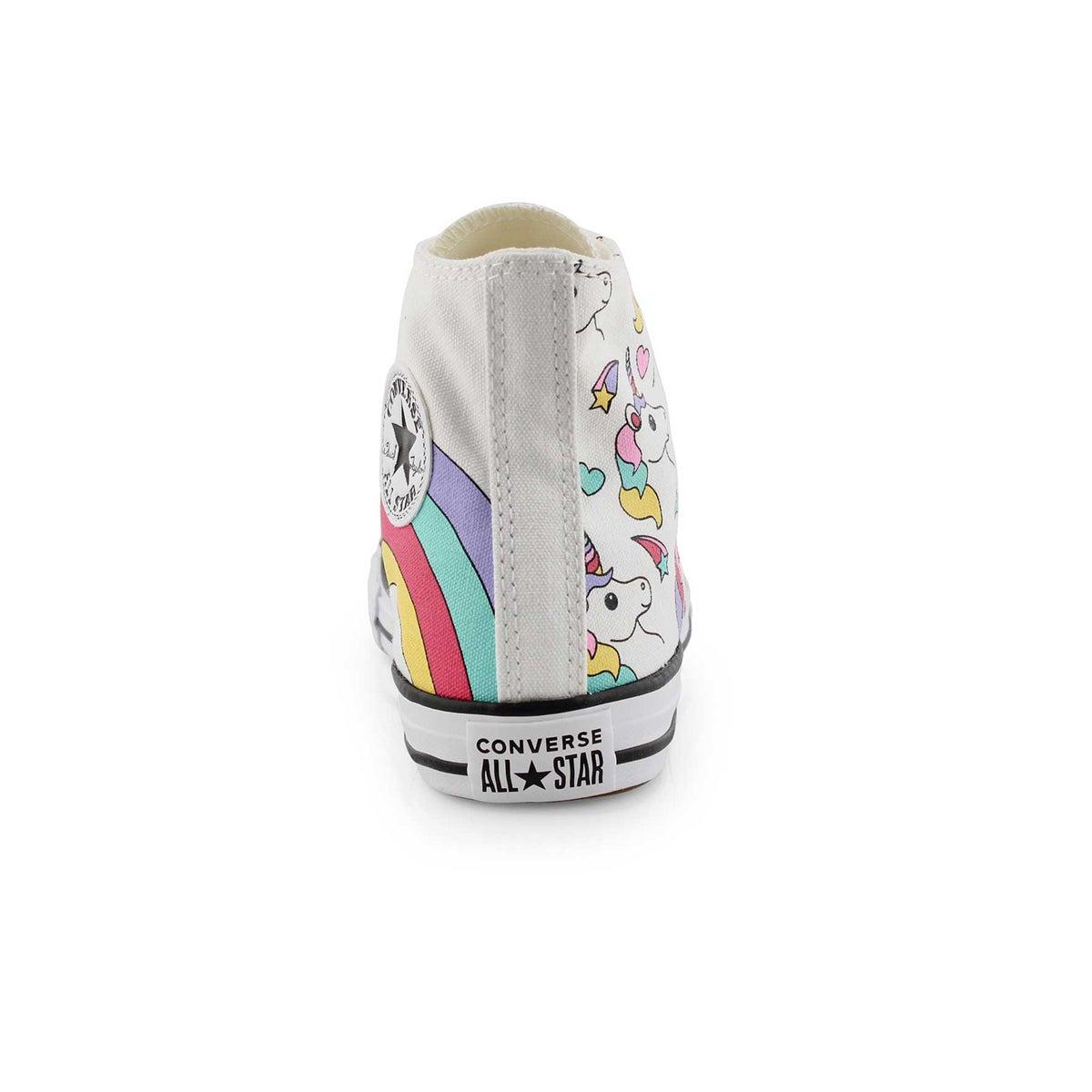 Grls CTAS Unicorn wht/rainbow hi top