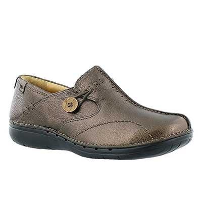 Clarks Flâneurs confortables UN.LOOP, cuir bronze, femmes
