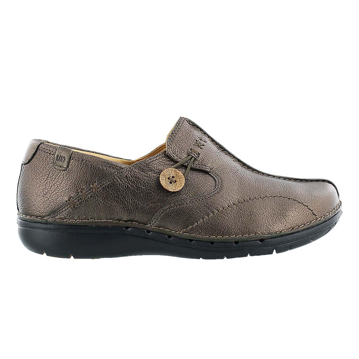 Lds Un.Loop brnz leather comfort slip on