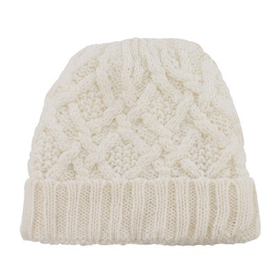 Fraas Women's CABLE KNIT off white lined hat