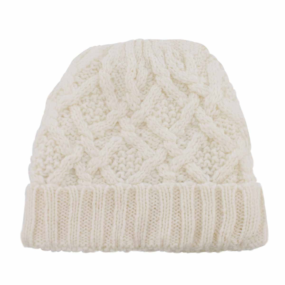 Lds Cable Knit off white lined hat