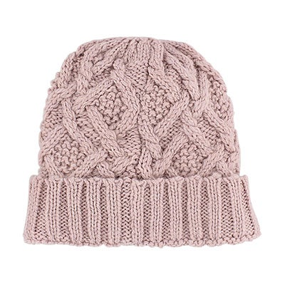 Fraas Women's CABLE KNIT tea rose lined hat