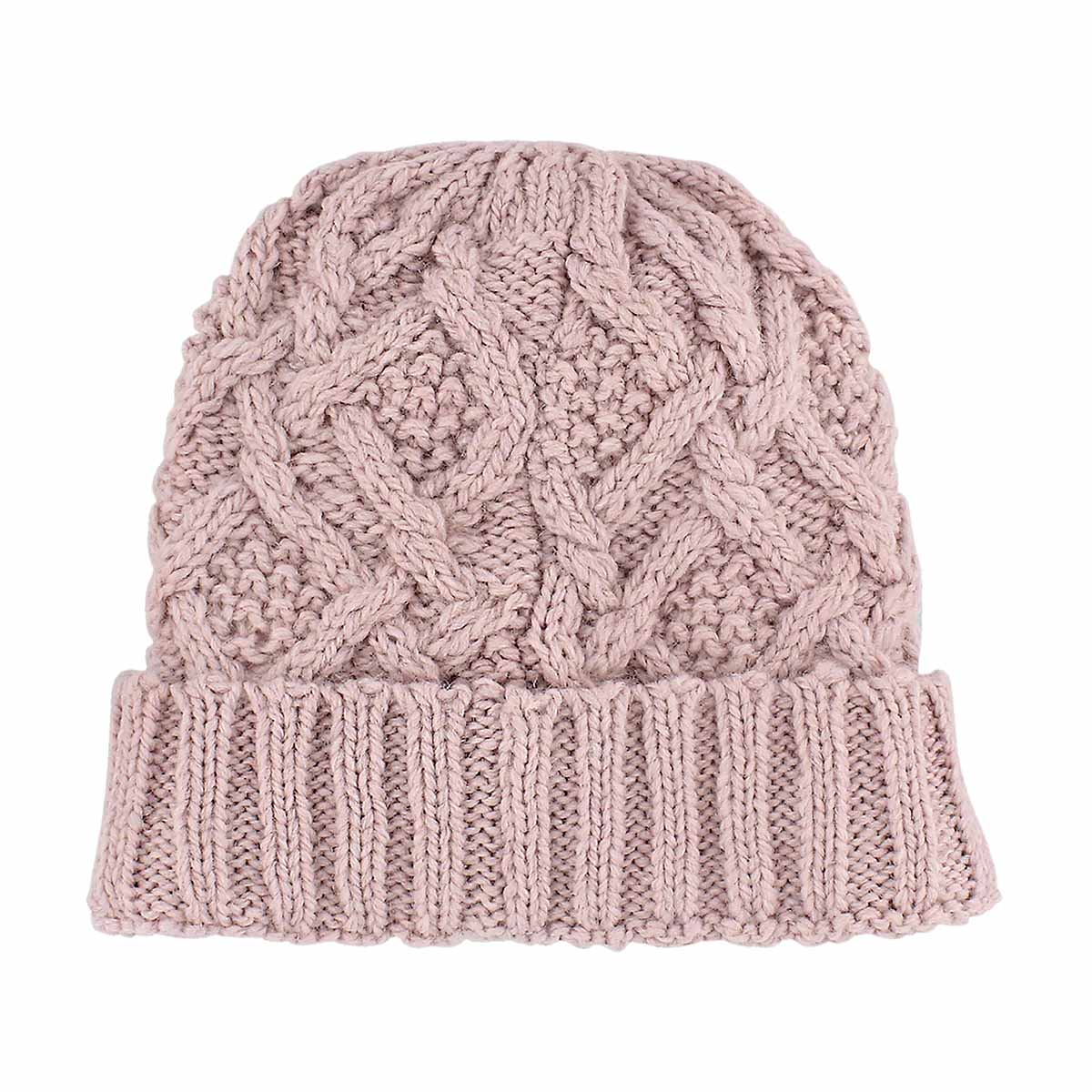 Lds Cable Knit tea rose lined hat