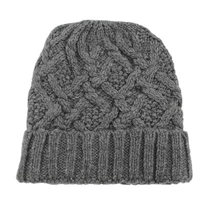 Fraas Women's CABLE KNIT grey lined hat