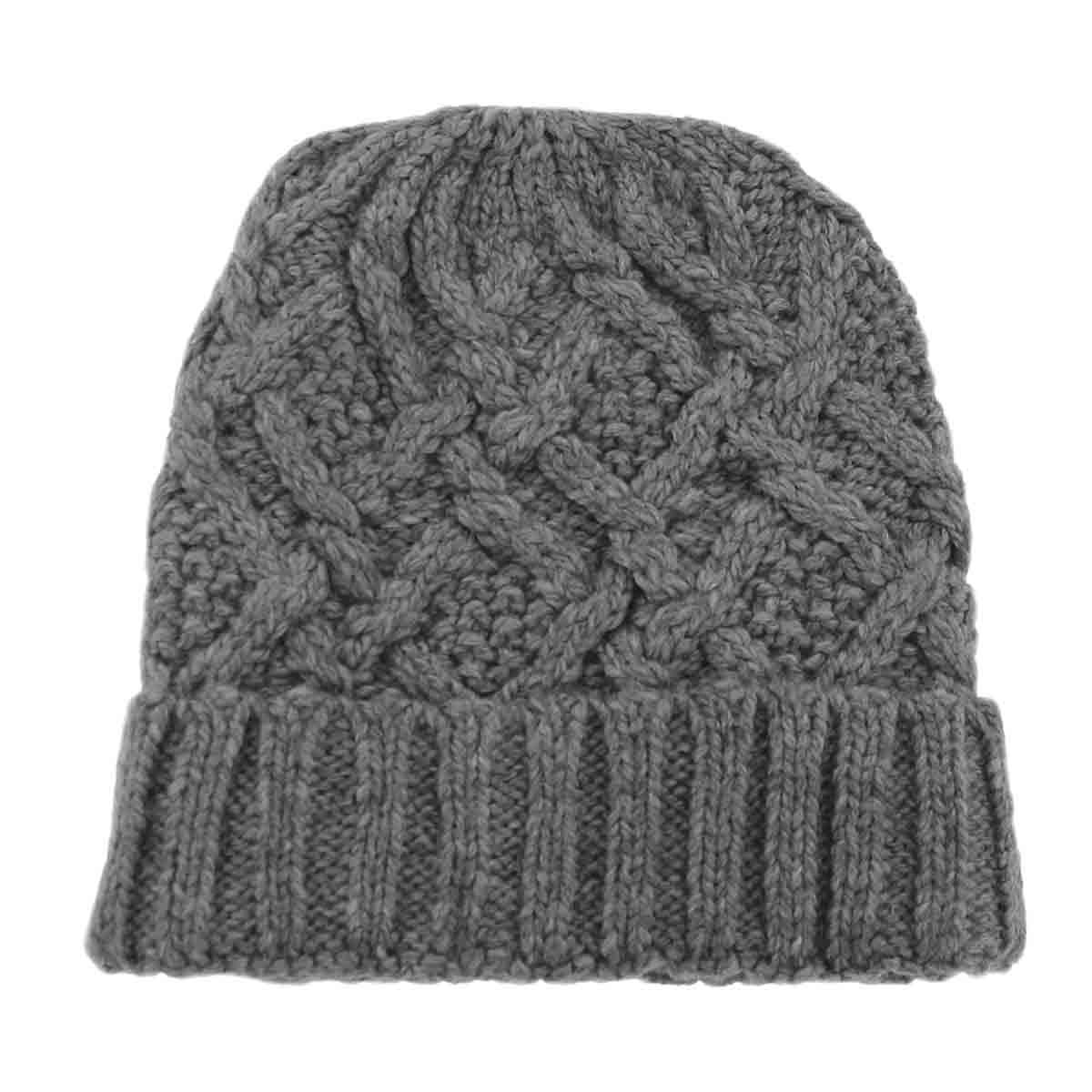 Lds Cable Knit grey lined hat