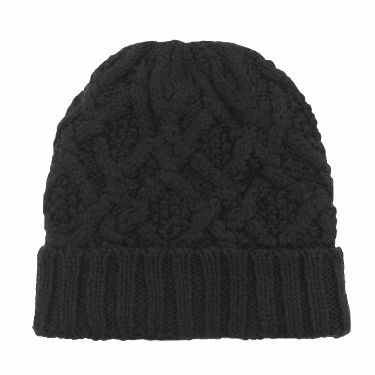 Women's CABLE KNIT black lined hat
