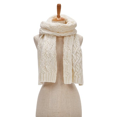 Lds Cable Knit off white scarf