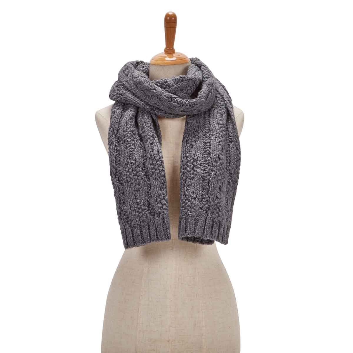 Women's CABLE KNIT grey scarf