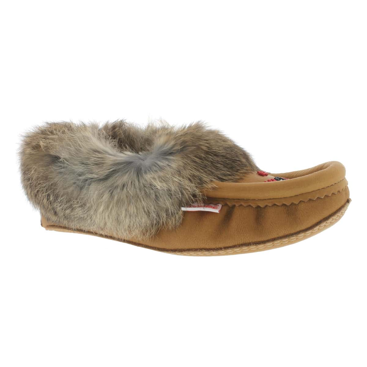 Women's 671 tan rabbit fur moccasins