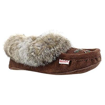 Lds chocolate rabbit fur moccasin