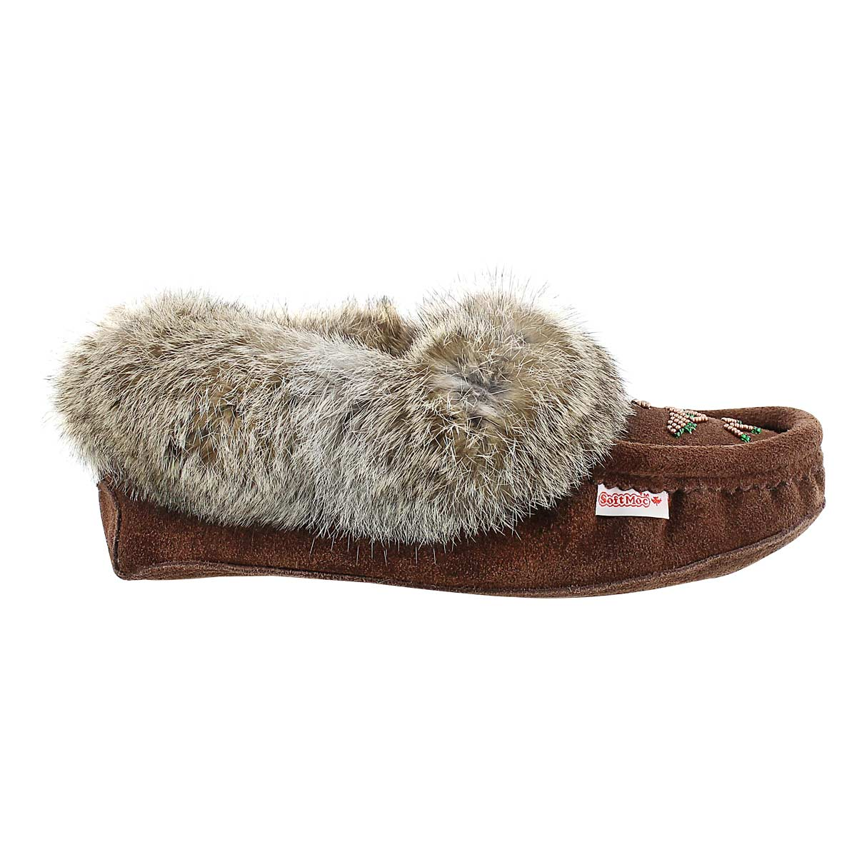 Lds chocolate rabbit fur moccasin