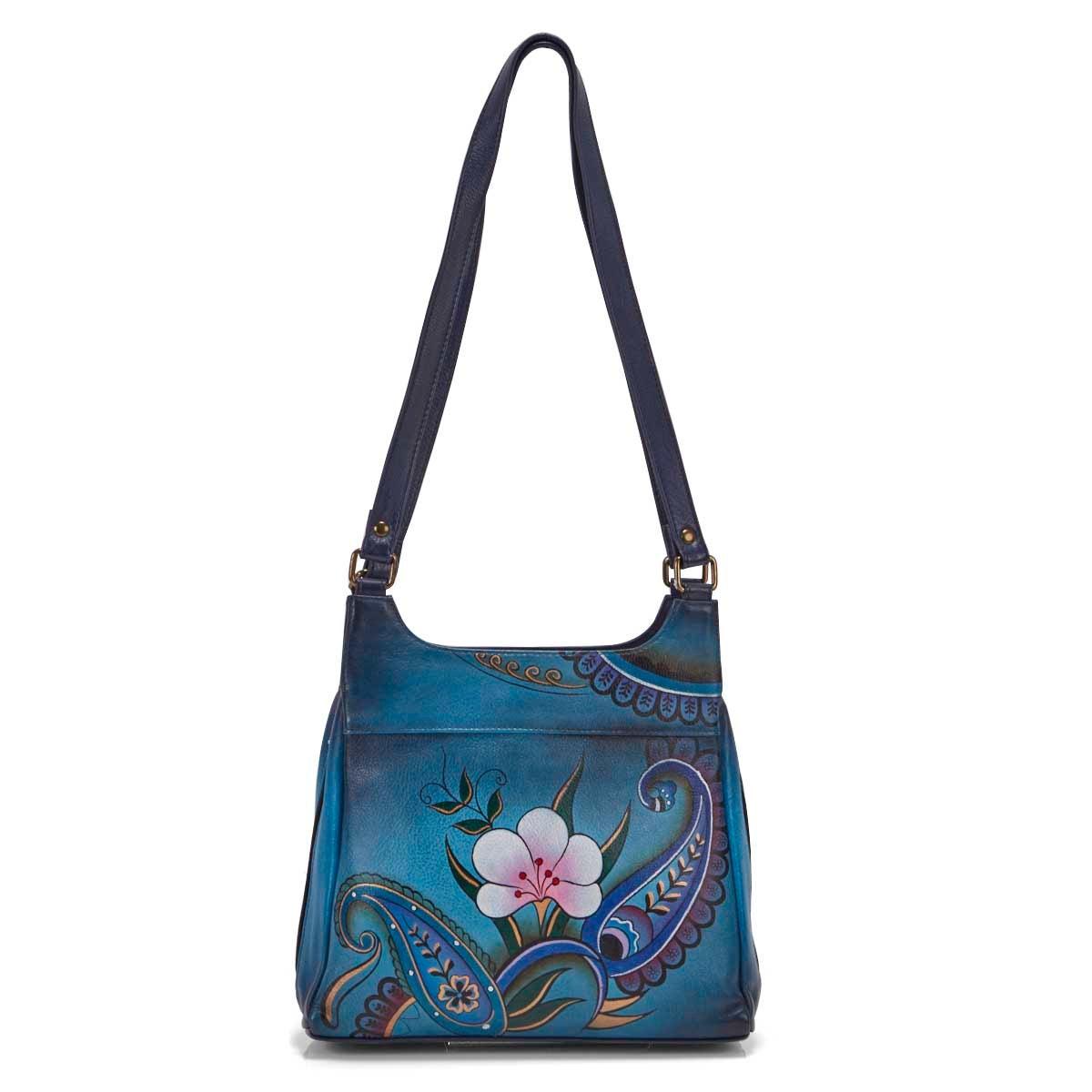 Painted lthr Denim Paisley Floral satchl