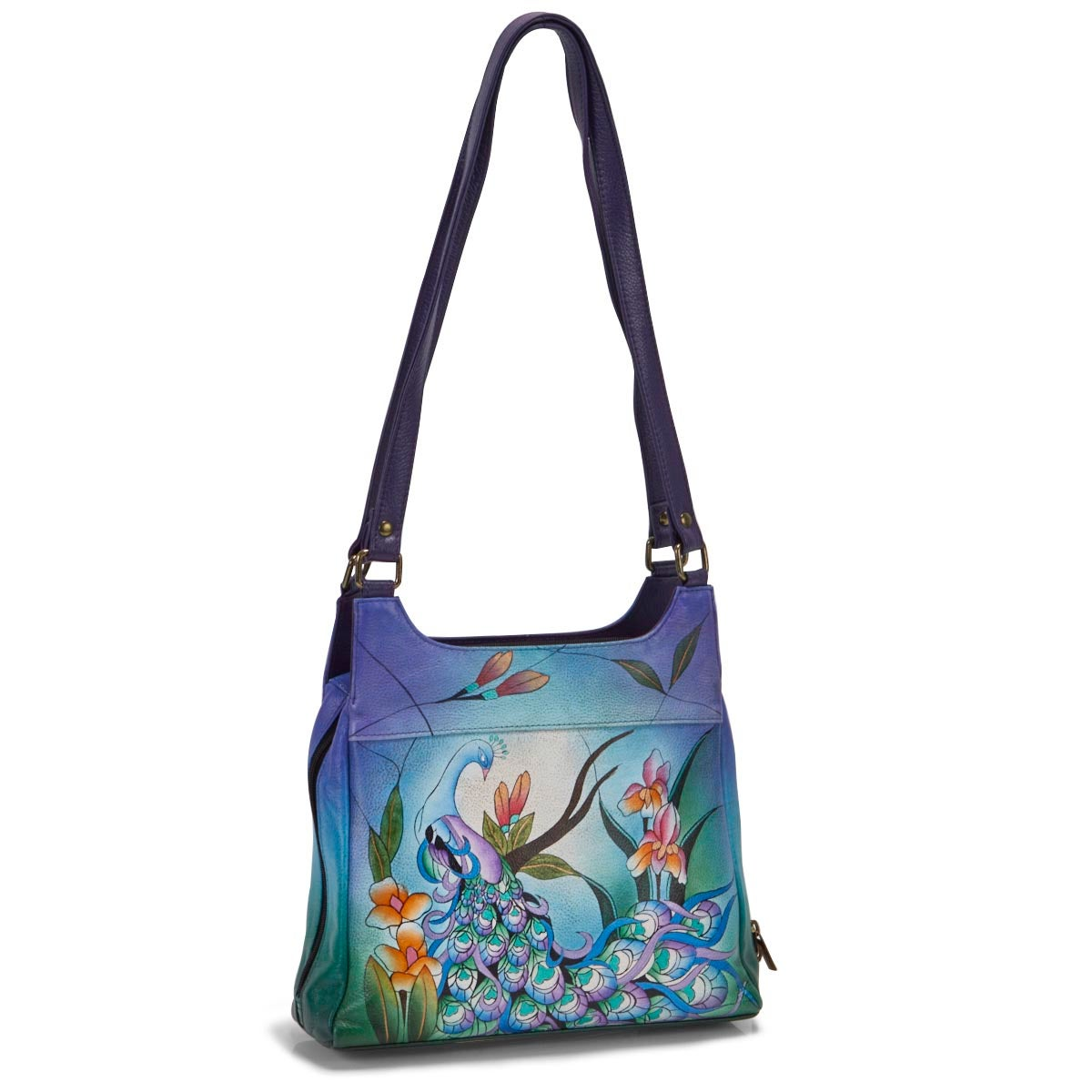 Painted lthr Midnight Peacock satchel