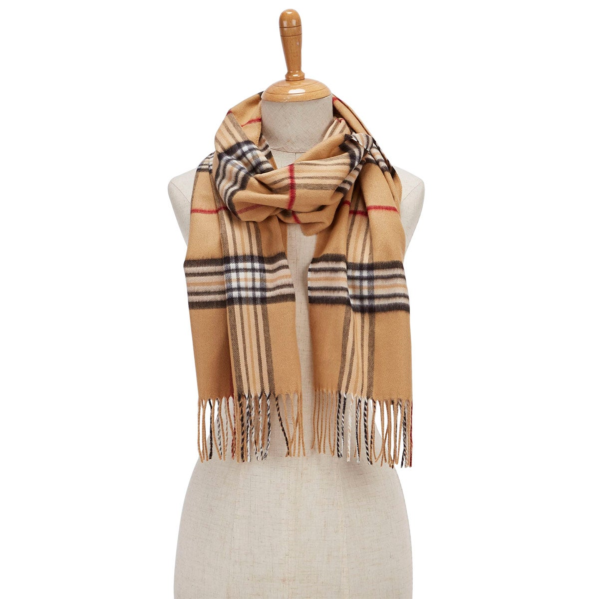 Women's FRAAS PLAID camel scarf