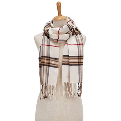 Fraas Women's FRAAS PLAID ivory scarves