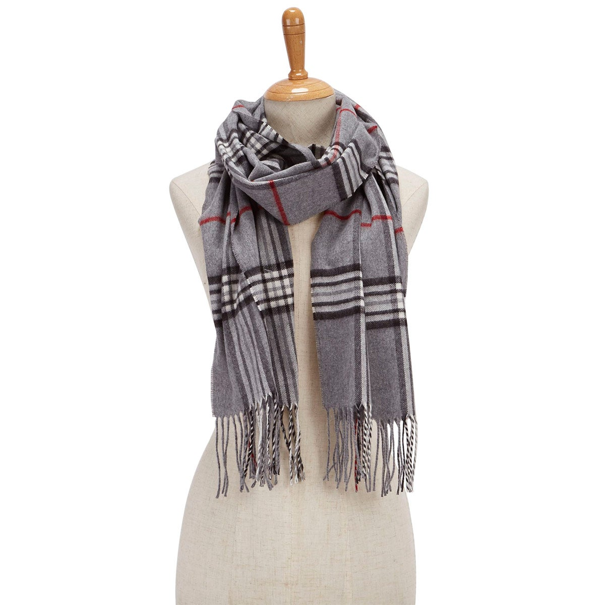 Lds Fraas Plaid grey scarf