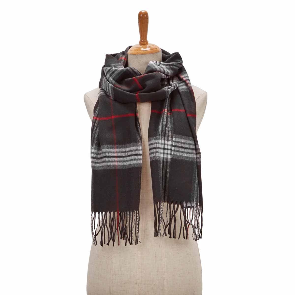 Women's FRAAS PLAID black scarf