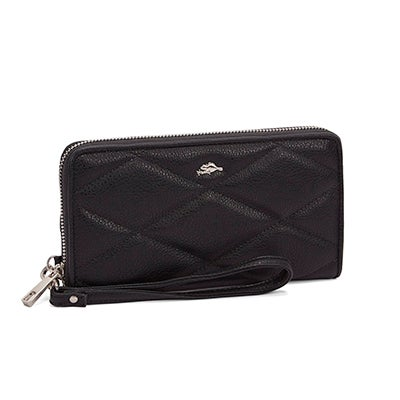 Lds Crosspath blk top zip wristlet