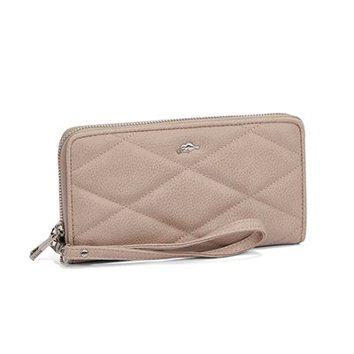 Roots Women's CROSSPATH taupe top zip wristlet