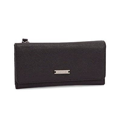 Roots Women's GRAPHITE black 3 fold large wallet