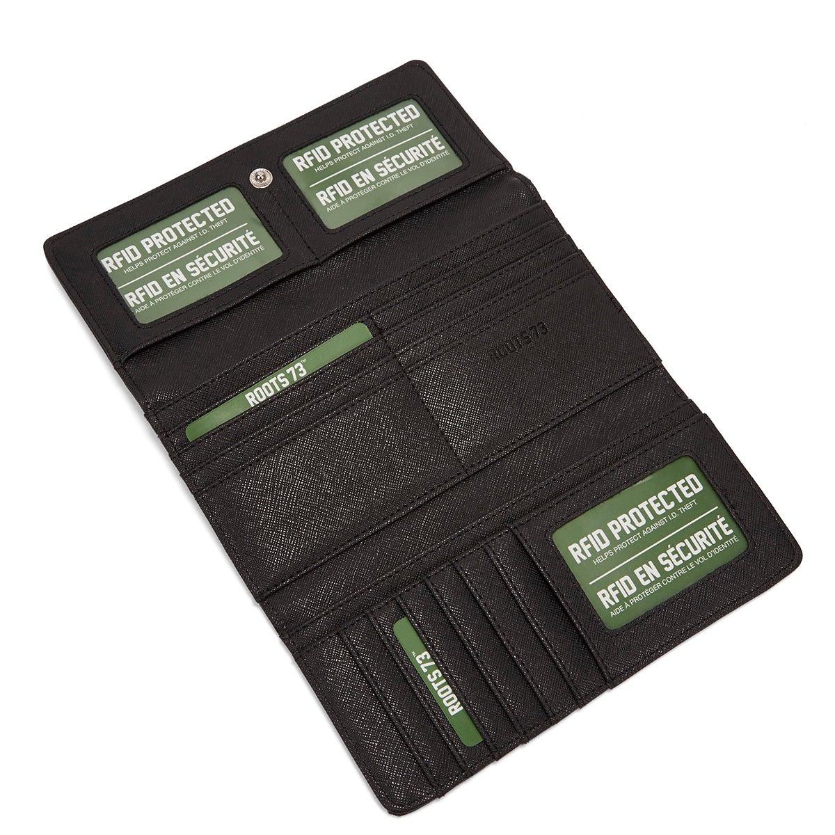 Grand portefeuille Graphite, noir, fem