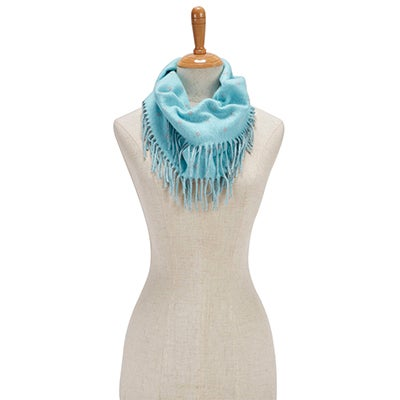 Fraas Women's POLKA DOT SIDE FRINGE LOOP trqs scarves