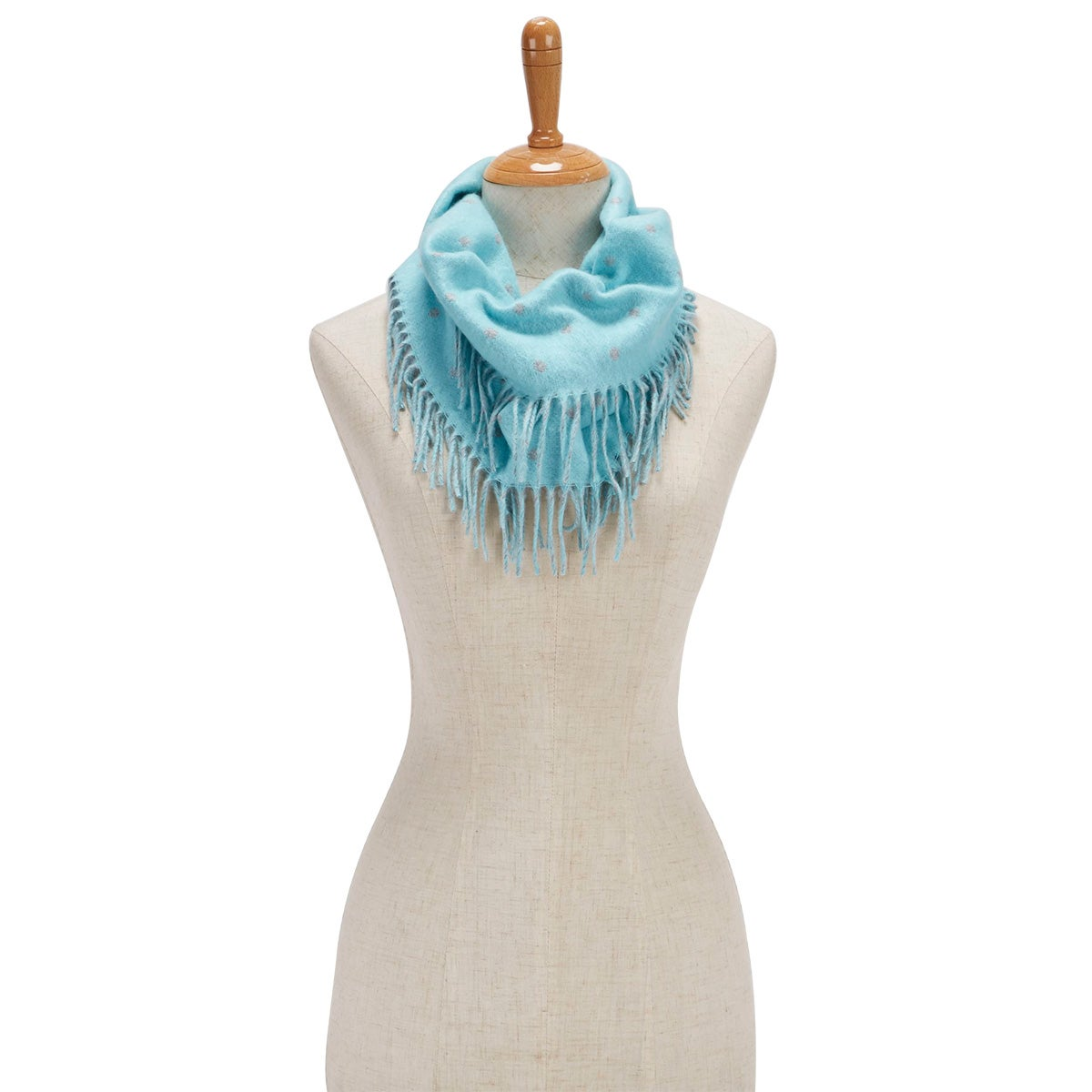 Women's POLKA DOT SIDE FRINGE LOOP trqs scarves