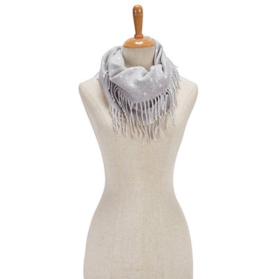 Fraas Women's POLKA DOT SIDE FRINGE LOOP silver scarves