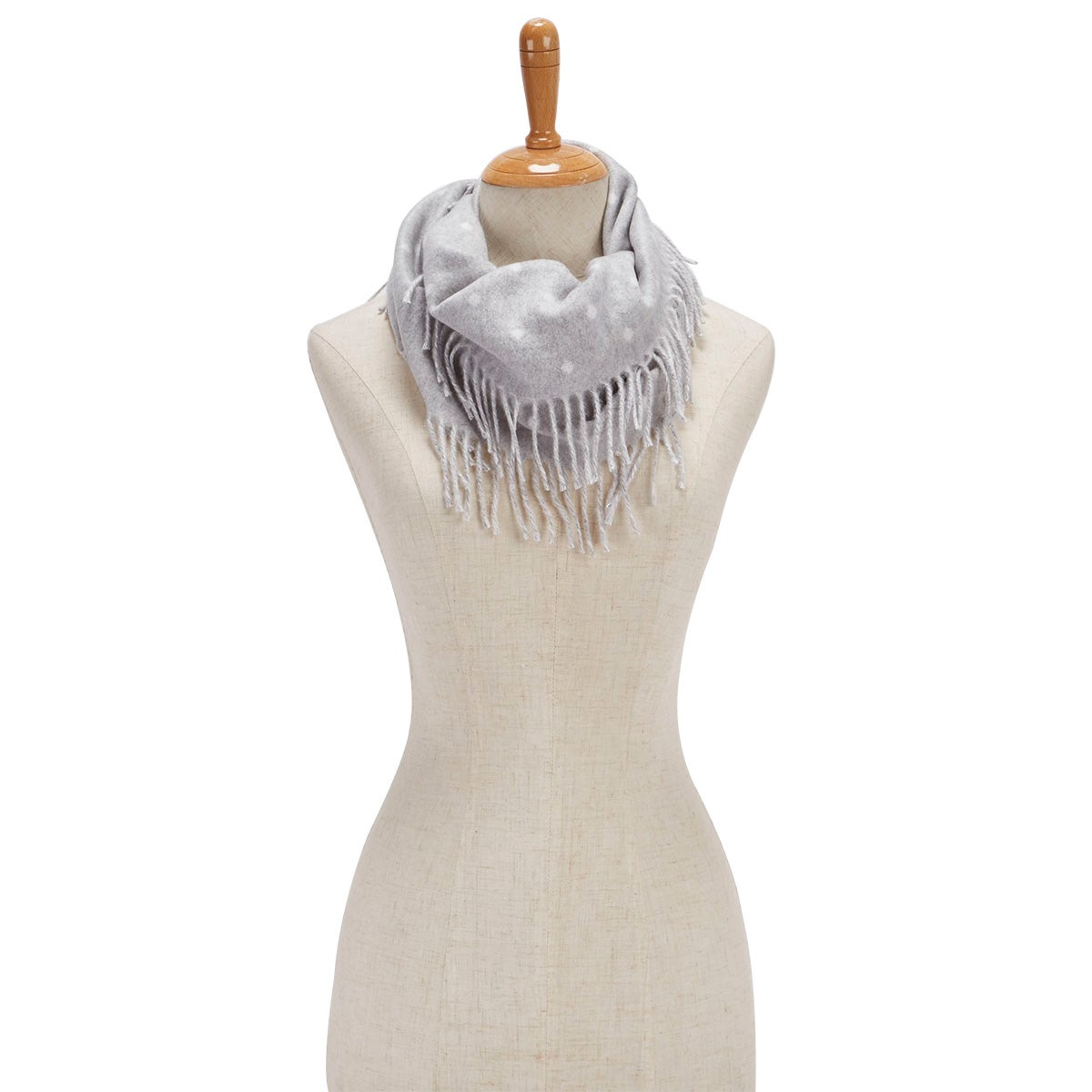 Women's POLKA DOT SIDE FRINGE LOOP silver scarves
