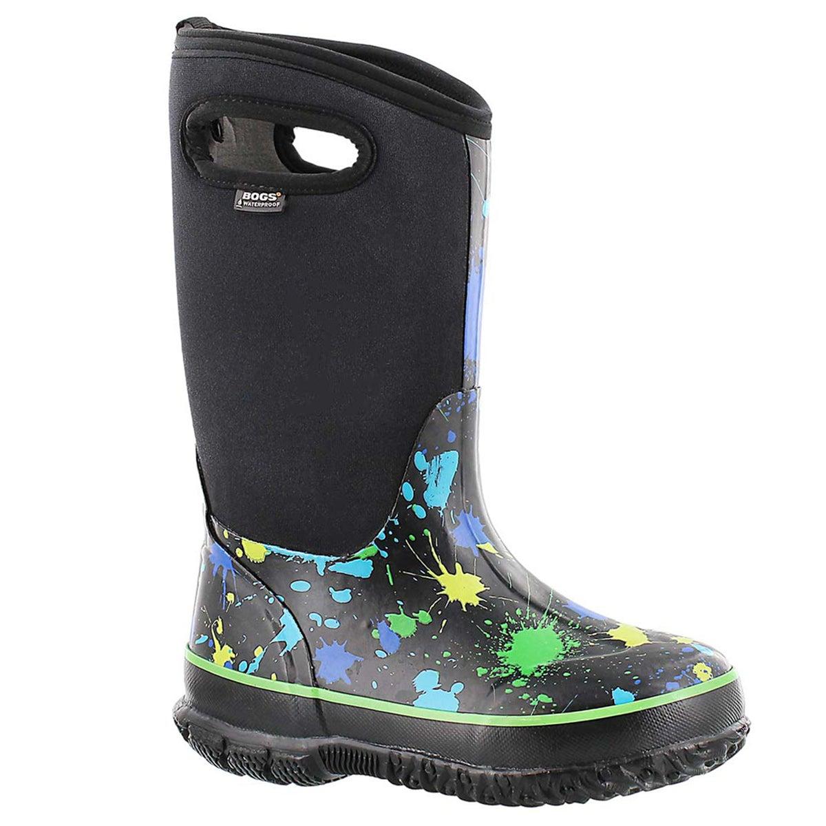 Bys Paint Splat tall blk/blue boot