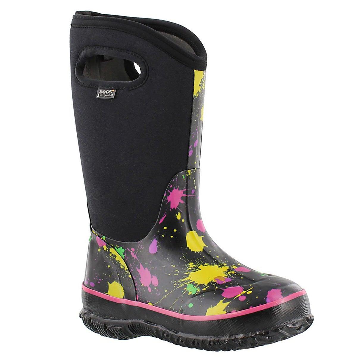 Grls Paint Splat tall blk/pink boot