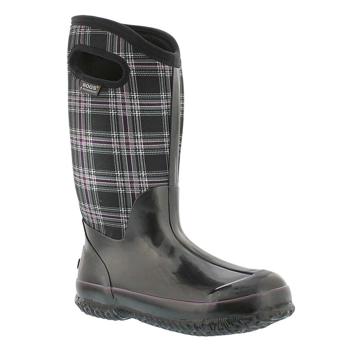 Lds Winter Plaid Tall blk wtpf boot WIDE