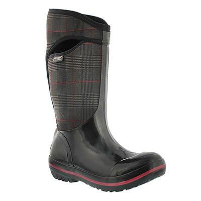 Bogs Women's PRINCE OF WALES TALL blk waterproof boots